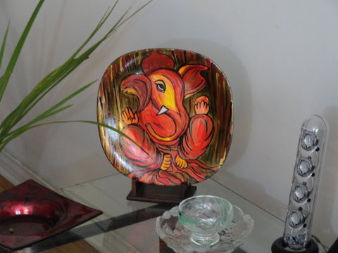 ganesh plate art oil painting1