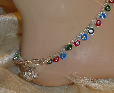 Handmade anklet. White metal anklet. Ethnic Indian anklet. Meenakari and stone anklet. From Artikrti.