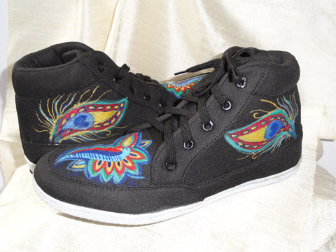 Handpainted women's canvas shoes. Henna design keds. Ethnic indian shoes. Handpainted sneakers. Black Henna Peacock. Jooots from Artikrti