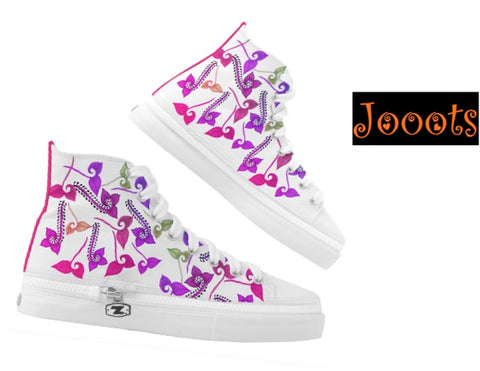 Henna design keds or high tops. Ethnic women's sneakers or canvas shoes. Pink purple Henna- Feather Floats. Jooots from Artikrti