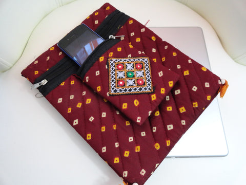 Maroon or Burgundy Indian handmade iPad case. Arty Bandhini Urban Handbag. Indian iPad case, handbag and mobile pouch. Cotton and handmade bandhini handbag. Trendy handbag. From Artkrti.