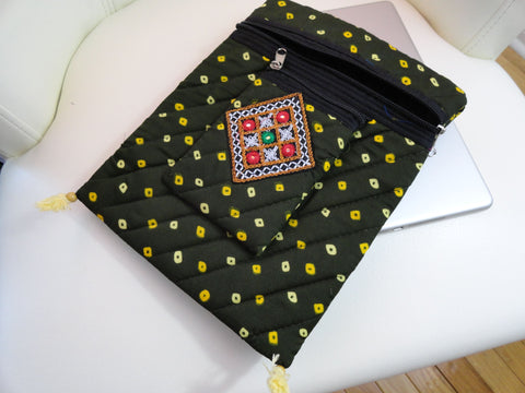 Olive Green Indian handmade iPad case. Arty Bandhini Urban Handbag. Indian iPad case, handbag and mobile pouch. Cotton and handmade bandhini handbag. Trendy handbag. From Artkrti.