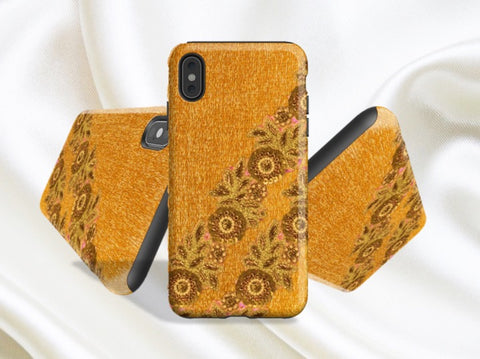 muted gold iPhone X case yellow indian ethnic artikrti 1