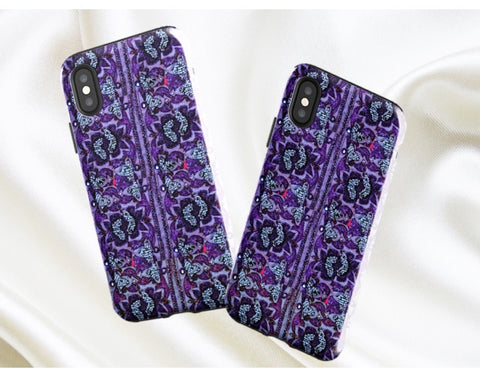 Women's iPhones cover, case. Ethnic, arty, Indian iPhone X case. Tough, purple henna sequins design for iPhone 8, 7, 6. From Artkrti.
