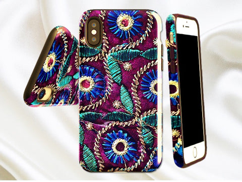 Protective iPhone X case- purple and blue green. Cool, Indian, peacock feather design- iPhone 8, 7, 6 options. From Artkrti.