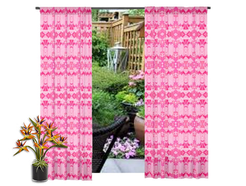"Indian ikat style curtains. Bay window drapes. Living room curtains.  ""Rose Petals"" from Artikrti"