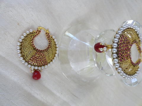 ear rings gold ruby stone Indian dangle, artikrti