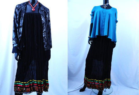 Indian, sequin work, crinkled gypsy skirt. Crushed cotton black red green, mustard maxi skirt. . Ethnic, boho. From Artikrti.