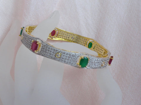 "Wedding or Anniversary bracelet bangle from India. White Diamond like stone with pink and green stone ethnic bangles. Indian, handmade bangle bracelets. ""Aishwarya"" or ""Prosperity""- bridal or bridesmaid's Valayal or bracelets or bangles. From Artikrti."