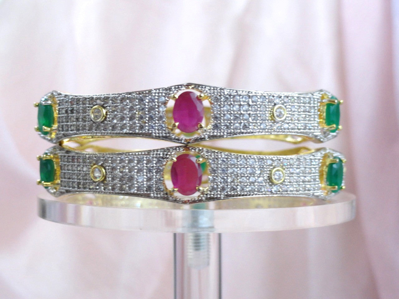 Indian Jewelry Wedding Bracelet Bangle White Diamond Like Stone With Pink And Green