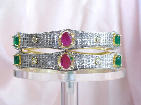 "Indian Jewelry- wedding bracelet bangle. White Diamond like stone with pink and green stone ethnic bangles. Indian, handmade bangle bracelets. ""Aishwarya"" or ""Prosperity""- bridal or bridesmaid's Valayal or bracelets or bangles. From Artikrti."