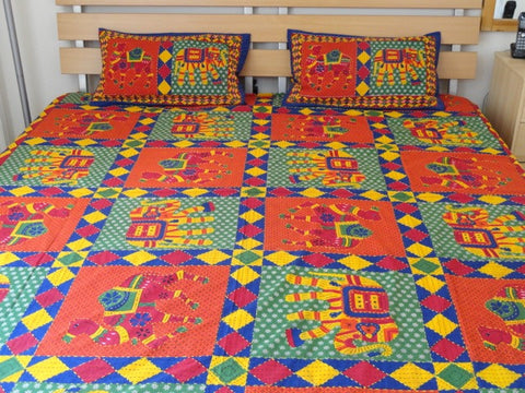 Indian cotton bedspread red green elephant camel-artikrti1