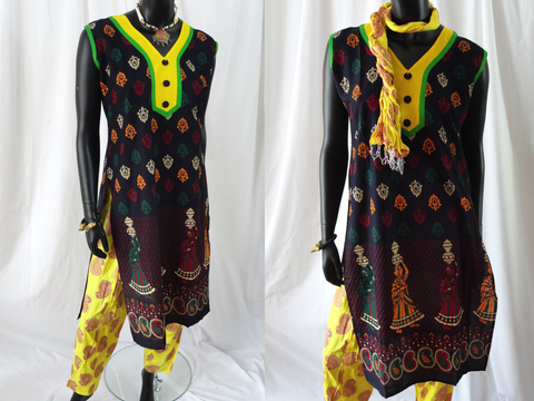 Multi color Yoga tunic or top-sleeveless. Soft Cotton long dress top Mughal art. Summer boho casual blouse or top. ComfyCottons from Artikrti.