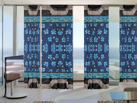 Indian curtains for your new Home. Floral Indian drapes- blue, black beige. Artikrti.