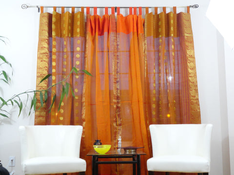 Indian cotton silk curtains-rust orange artikrti1