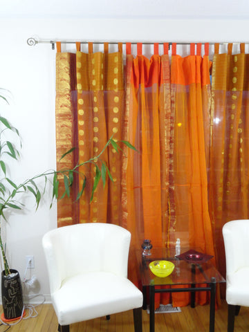 Indian Cotton Silk Curtains Rust Orange Artikrti1