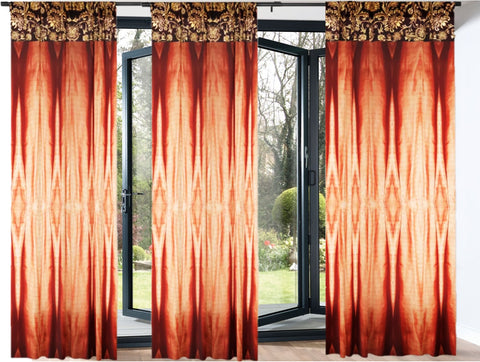 "Bedroom curtains. Orange Rust Drapery- curtains or drapes. Indian window curtains ""Colorful Weaves"" from Artikrti"