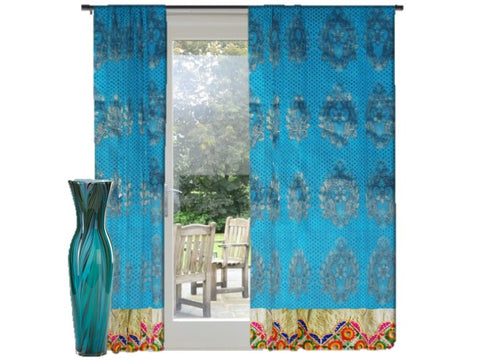 Indian curtain- christmas decor idea-blue green by artikrti1