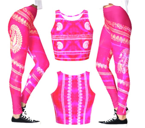 pink yoga crop top or dance top artikrti1