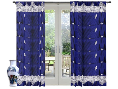 "Drapery- living room curtains. Blue decorative curtains. Indian style design ""Royal Indigo"" from Artikrti"