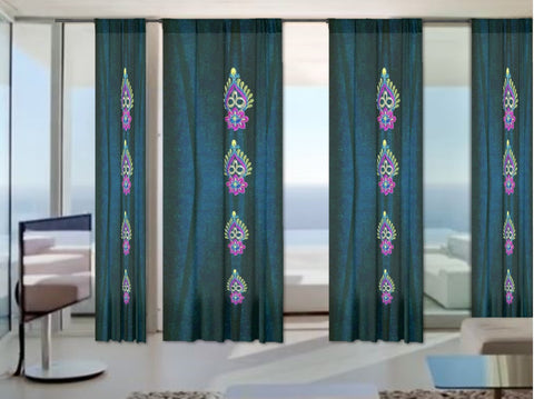 "Bed room curtains. French window drapes. Blue black Indian print curtains: ""Diwali"" from Artikrti"