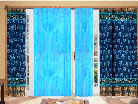 Indian curtains. Living room or bed room drapes. Turquoise Blue Plain silk print to mix and match. From Artikrti.