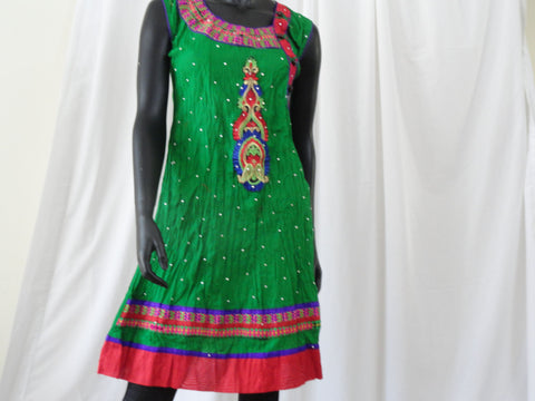 Green Crushed cotton ethnic sleeveless dress or top. Soft Cotton dress top with striking embroidered appliqué in red . Summer boho casual blouse or top. ComfyCottons from Artikrti.