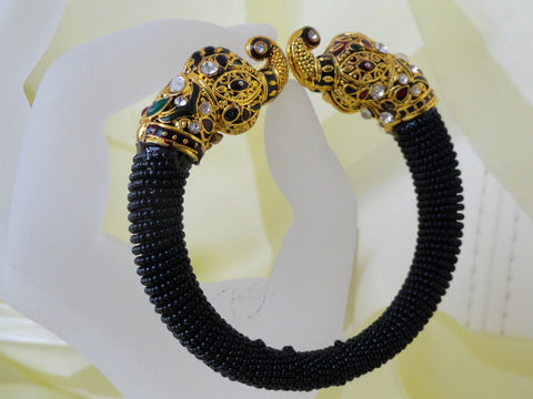 indian minakari bollywood bracelet black beads 1