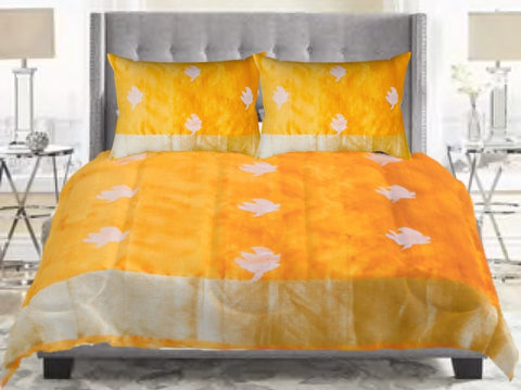 Premium Indian duvet cover . Unique ethnic printed silk look- mango yellow with zari leaf. Classy bed room duvet cover. From Artikrti.