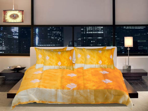 Indian comforters. Unique ethnic printed silk look- mango yellow with zari leaf. classy bed room comforter. From Artikrti.