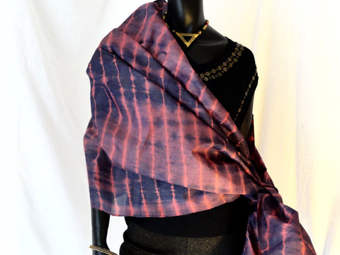 Silk stole or shawl, tie & dye, boho, ethnic indian 1