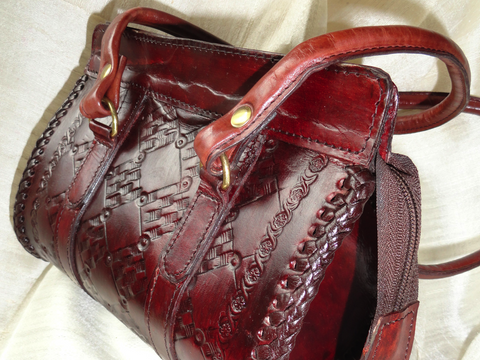 Oak, burgundy or reddish brown handbag. Indian Leather Handbag. Handmade, hand embossed women's handbag. Indian leather purse. Artikrti.