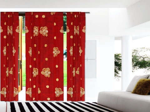 Holiday season home decor curtains, red gold artikrti 1