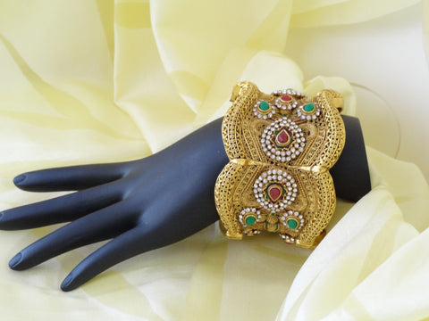 Indian broad bracelet jewelry, red, green, white stones artikrti 1