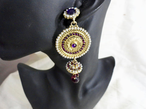 Indian Ear rings- stone and bead dangling ear ring. Ruby red, purple  & white stones. From Artikrti.