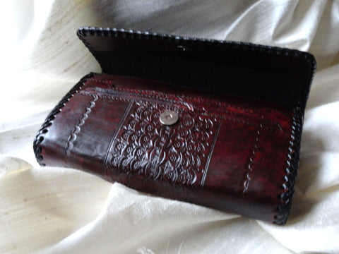 Handmade, hand embossed leather clutch. Indian Leather Clutch Purse. Cherry oak leather handbag.  Indian Clutch purse. From Artkrti.
