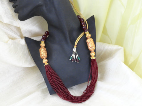 indian jewelry bead necklace minakari chain artikrti