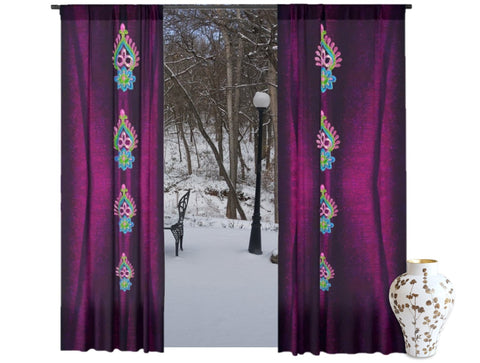 "Curtain store- Window drapes-wine red. Living room curtains. Indian print style ""Diwali"" from Artikrti"