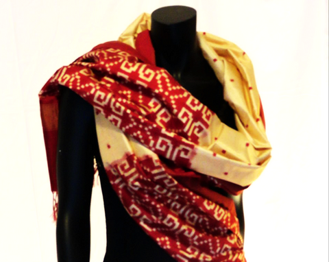 Indian silk stole or wrap. Ethnic boho beige & red silk scarf. Classy wedding or party shawl gift. From Artikrti