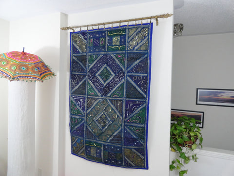 "Ethnic Wall Tapestry. Home decor idea ""Blue Ganges""- Fabric Wall Hanging wall decor.  Indian ethnic wall tapestry. Artikrti"