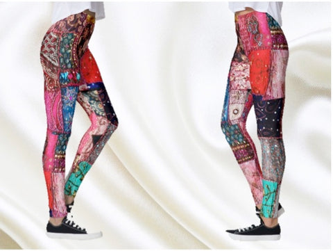 yoga pant leggings multi color patchwork artikrti6