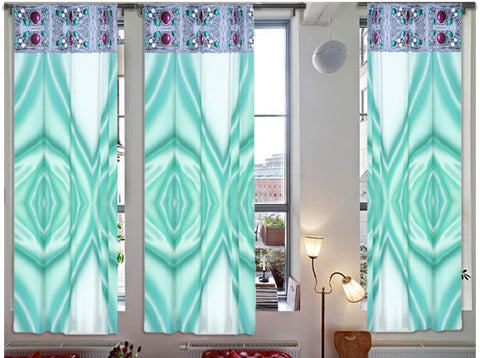 "Contemporary Indian curtains. Bay window drapes- sapphire green. ""Paa Maalai"" from Artikrti."