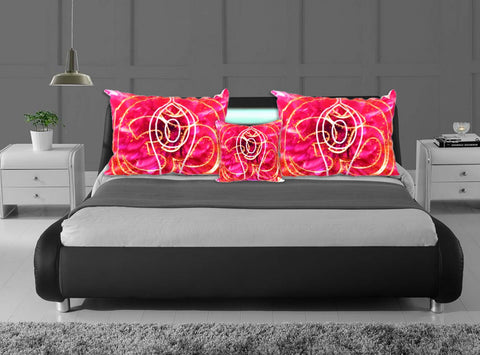 "Indian home decor pillow covers- Om or AUM pillow case. ""Surya Namaskaar"". Cushion cover. Red pink ethnic bedroom cushion cover. Artikrti."