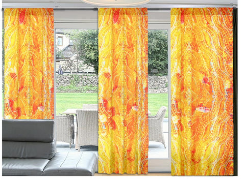 Indian drapes or curtains. Housewarming gift. Ethnic Indian. Orange and yellow valences. From Artikrti.