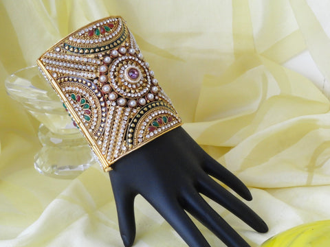 "Bridal Statement Beaded bracelet from India. ""Queen's Amulet""- Gold finished  party or wedding broad bracelet bangle. Handmade beads and stone bracelet. From Artikrti"