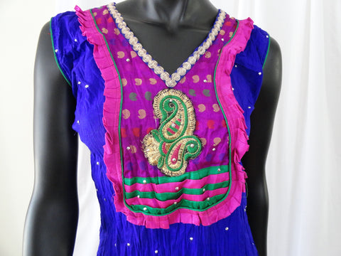 Crushed cotton ethnic sleeveless dress or top- blue. Soft Cotton dress top with striking embroidered appliqué in pink . Summer boho casual blouse or top. ComfyCottons from Artikrti.
