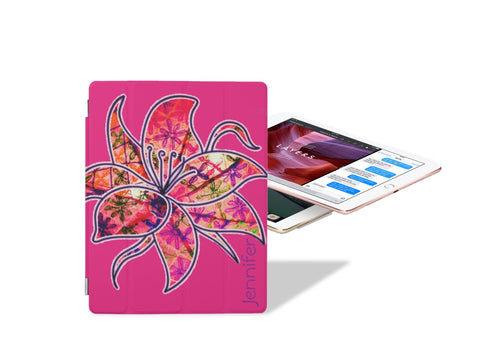 iPad case or sleeve. iPad Pro cover and stand. Cool floral design for girls- pink. Passion Flower. From Artikrti