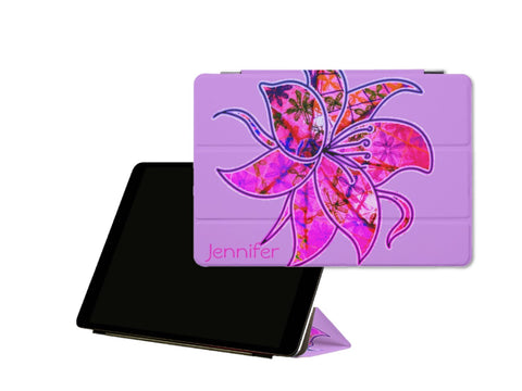 iPad case or sleeve. iPad Pro cover and stand. Cool floral design for girls- purple. Passion Flower. From Artikrti