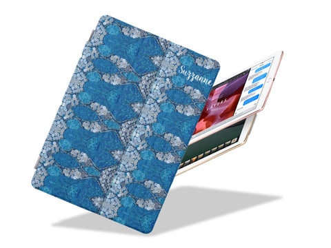 Apple iPad case. iPad Pro cover and stand. Beads & sequins design for girls- blue & silver. Ripples. From Artikrti