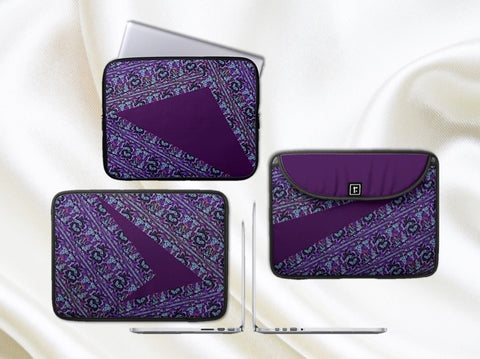 Women's Laptop bag or MacBook case. Stylish, urban Women's laptop case. Trendy Purple. Indian, ethnic. From Artkrti.